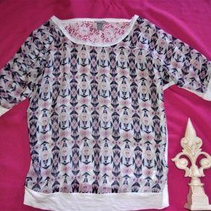 small woman summer shirt boho pattern vanity lace